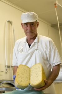 Worker cutting up Hohepa's biodynamic cumin flavoured cheese